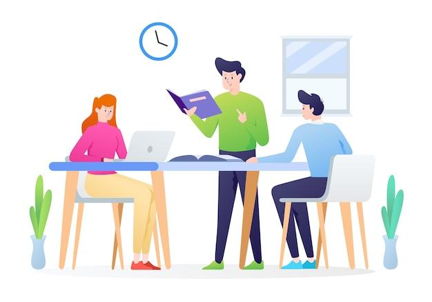 Illustrazione del gruppo di studio con gli studenti studiano insieme dopo la lezione come concetto. questa illustrazione può essere utilizzata per sito web, pagina di destinazione, web, app e banner.