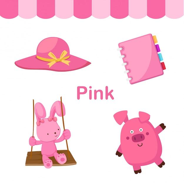 Illustrazione del gruppo isolato di colore rosa