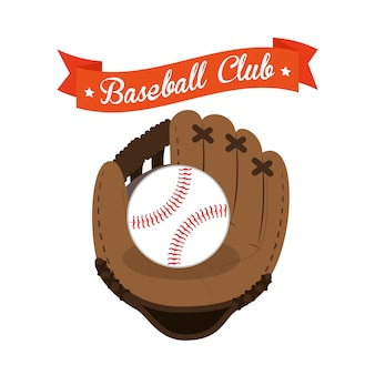 Illustrazione del guanto e della palla del club di baseball