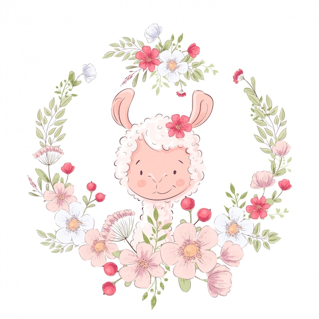 Illustrazione del lama carino in una corona di fiori. disegno a mano