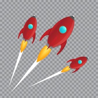 Illustrazione del lancio realistico della nave spaziale del razzo 3d isolato su sfondo trasparente. esplorazione dello spazio.