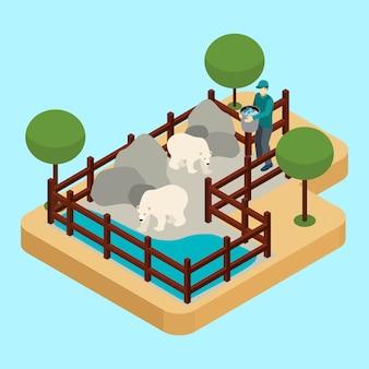 Illustrazione del lavoratore dello zoo