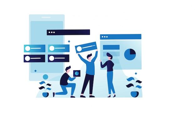 Illustrazione del lavoro del gruppo di sviluppo web per la pagina di destinazione