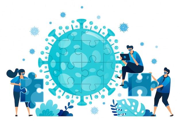 Illustrazione del lavoro di squadra e del brainstorming per risolvere i problemi e trovare soluzioni durante la pandemia del virus covid-19.