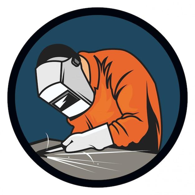Illustrazione del logo del saldatore isolato su sfondo bianco