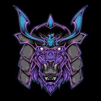 Illustrazione del logo della mascotte del leone del samurai