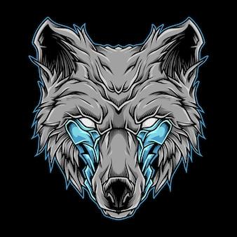 Illustrazione del logo della mascotte della testa del lupo