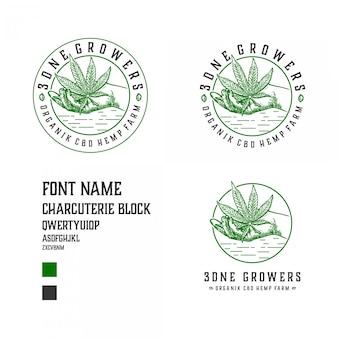 Illustrazione del logo di allevamento di cannabis con molti stili di layout