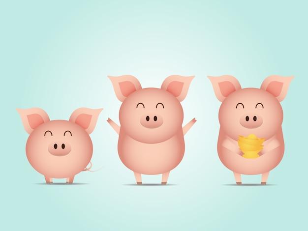 Illustrazione del maiale carino con il vettore del fumetto dell'oro