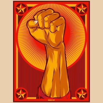 Illustrazione del manifesto della propaganda del pugno chiuso