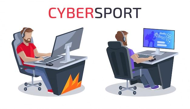 Illustrazione del manifesto di cybersport e dei giocatori
