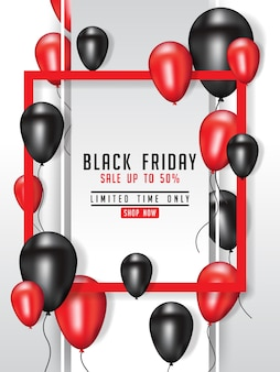 Illustrazione del manifesto di vendita di black friday con i palloni brillanti