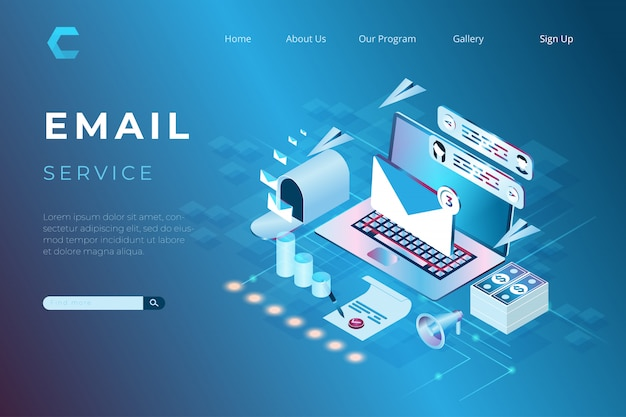 Illustrazione del marketing online via e-mail, servizi di supporto online con il concetto di landing page isometriche e intestazioni web