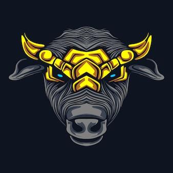 Illustrazione del materiale illustrativo della testa della mucca