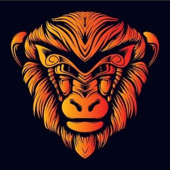 Illustrazione del materiale illustrativo di sorriso del fronte della scimmia