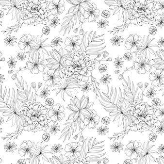 Illustrazione del mazzo di fiori in bianco e nero