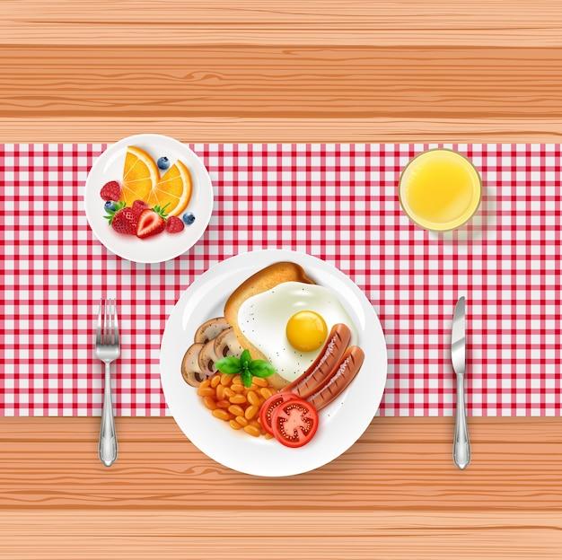 Illustrazione del menu del cibo della prima colazione con l'uovo fritto e le bacche sulla tavola di legno