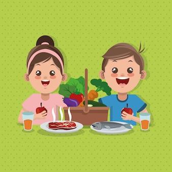 Illustrazione del menu, dell'alimento e della nutrizione dei bambini relativi