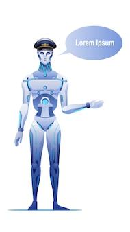 Illustrazione del messaggio di benvenuto del tassista del robot.