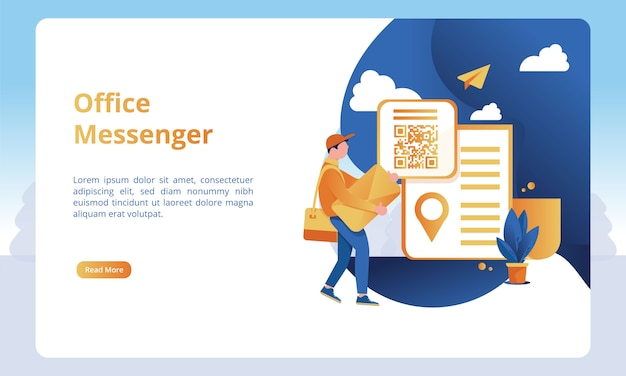 Illustrazione del messenger dell'ufficio per i modelli della pagina di atterraggio di affari