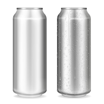 Illustrazione del metallo può del contenitore realistico 3d per soda o energy drink, limonata o birra.