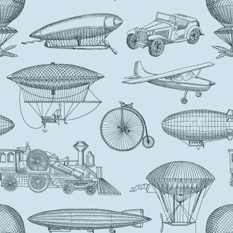 Illustrazione del modello con dirigibili disegnati a mano steampunk, biciclette e automobili. vintage e retrò