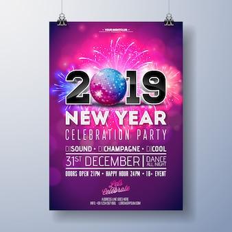 Illustrazione del modello del manifesto di celebrazione del partito del nuovo anno con 3d 2019 numero, palla della discoteca