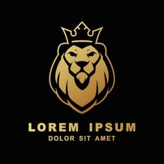 Illustrazione del modello dell'icona di vettore della testa di re del fronte di logo del leone