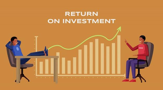 Illustrazione del modello dell'insegna di ritorno su investimento. cooperazione internazionale degli uomini d'affari dell'afroamericano. profitto e reddito, economia e finanza, strategia e successo finanziario, roi