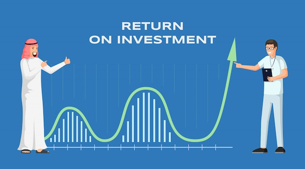 Illustrazione del modello dell'insegna di ritorno su investimento. cooperazione internazionale dell'uomo d'affari arabo. profitti e entrate, economia e finanza, strategia e successo finanziario, layout del roi
