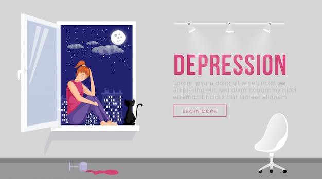 Illustrazione del modello della pagina di atterraggio di depressione. ragazza con l'espressione triste del fronte che si siede sul davanzale della finestra con la disposizione del homepage del gatto. personaggio dei cartoni animati in cattivo umore, ansia e stanchezza design del sito web