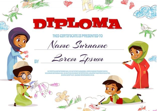 Illustrazione del modello di diploma del certificato di scuola materna per i bambini musulmani.