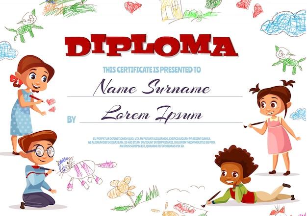 Illustrazione del modello di diploma del certificato di scuola materna per i bambini.