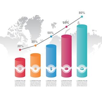 Illustrazione del modello di infographic di affari statistici del diagramma grafico del diagramma a colonna