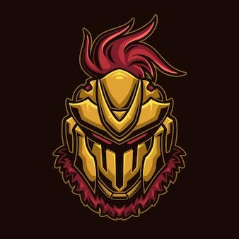 Illustrazione del modello di logo del fumetto della testa del casco del guerriero del cavaliere. esport logo gaming