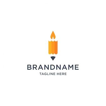 Illustrazione del modello di progettazione di logo della candela e della matita
