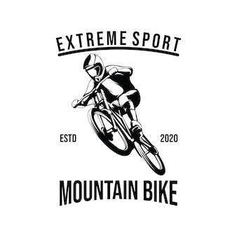 Illustrazione del modello di progettazione di logo di mountain bike