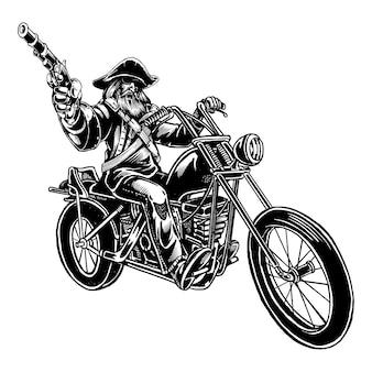Illustrazione del motociclista pirata