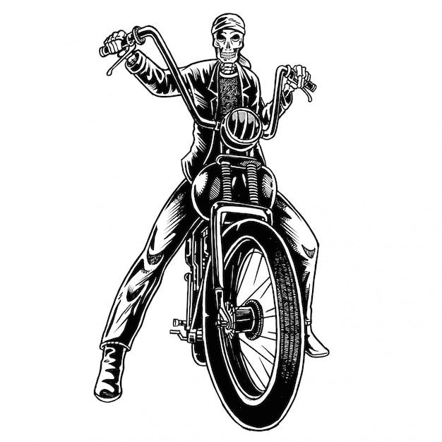 Illustrazione del motociclista teschio