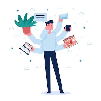 Illustrazione del multitasking del giovane
