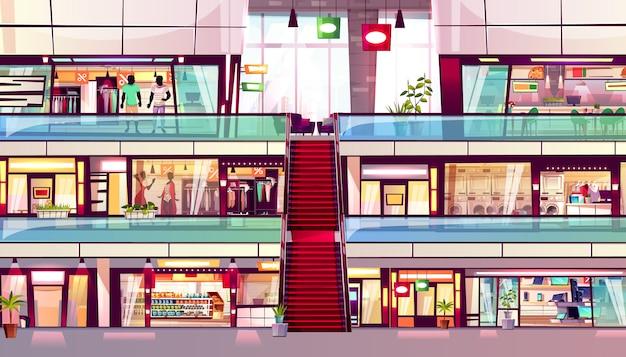Illustrazione del negozio del centro commerciale dell'interno del negozio di acquisto con la scala mobile nel mezzo.