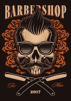 Illustrazione del negozio di barbiere, teschio con rose e rasoi a mano libera. cranio di hipster con capelli e baffi.