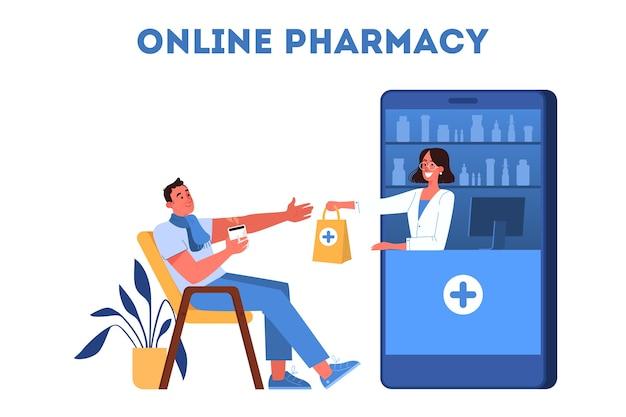 Illustrazione del negozio di farmacie online. concetto di acquisto di medicinali online. servizio mobile.