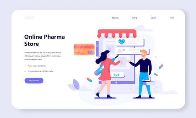 Illustrazione del negozio di farmacie online. concetto di acquisto di medicinali online.
