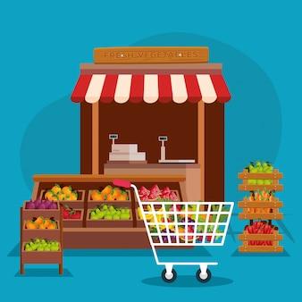 Illustrazione del negozio di frutta e verdura, acquisto e pagamento al dettaglio di commercio di compera del mercato del negozio