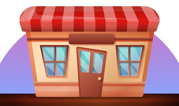 Illustrazione del negozio di strada, stile cartoon