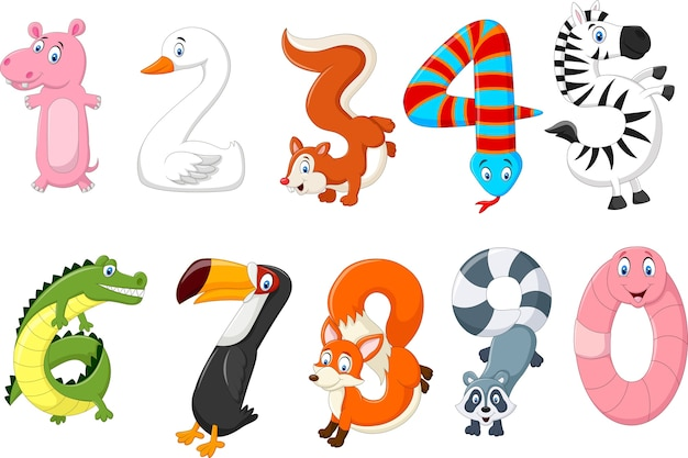 Illustrazione del numero con un concetto di animali dell'africa
