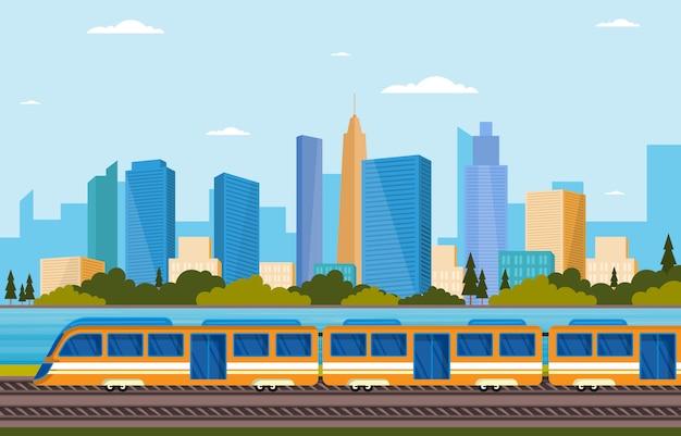 Illustrazione del paesaggio del treno della metropolitana del pendolare di trasporto pubblico del lato della ferrovia ferroviaria