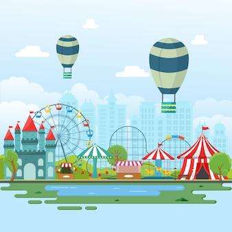 Illustrazione del paesaggio della fiera di divertimento di festival di carnevale del circo del parco di divertimenti