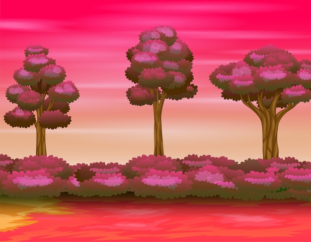 Illustrazione del paesaggio della foresta sul cielo rosa